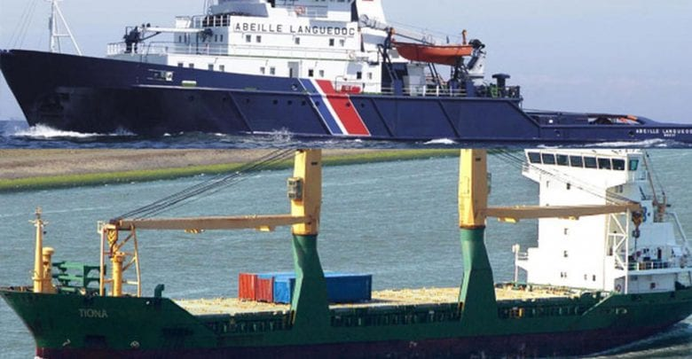 Cargo ship taken on tow, English Channel UPDATE