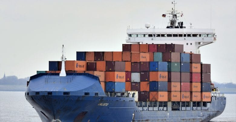Container ship collided with pier, damaged, Brunsbuettel