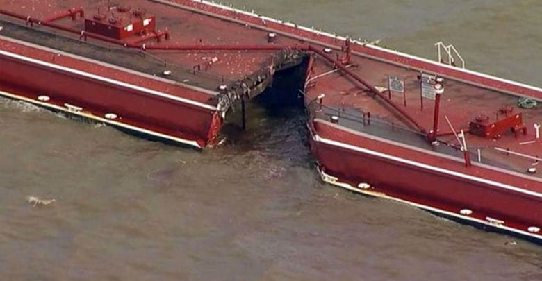 Major Gas Product Spill on Houston Ship Channel After Tanker and Barges Collide