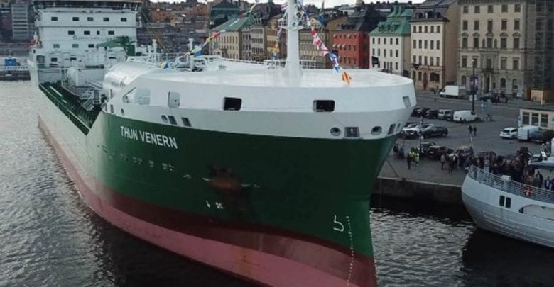 Thun Tankers Christens LNG-Fueled Ship in Stockholm