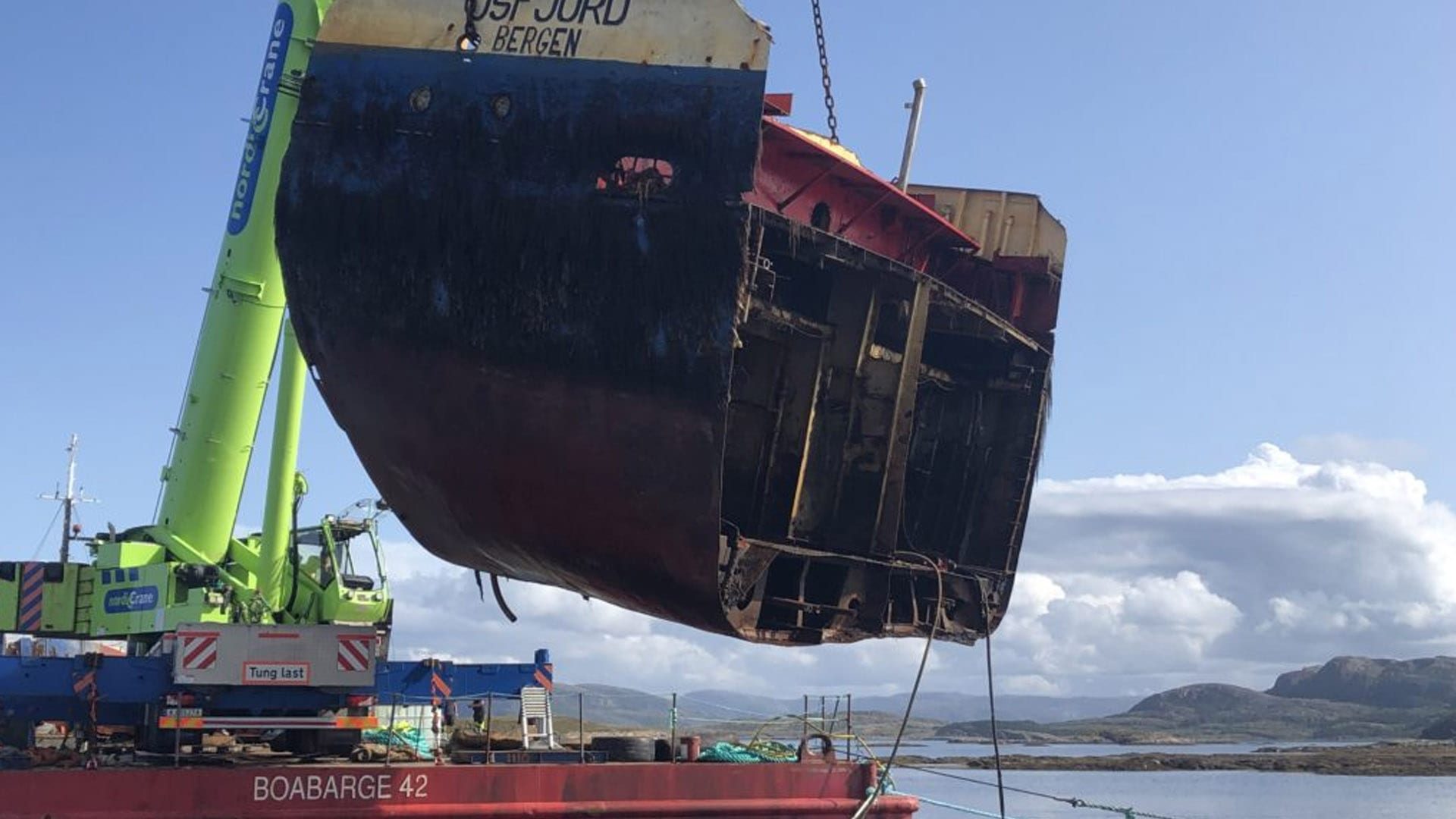 Norway: Wreck of Grounded Cargo Ship Cut Up and Removed