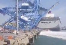 Photo of Japanese mega boxship slams into cranes at Busan New Port