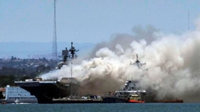 Photo of Several Injured as U.S. Navy Ship Catches Fire in San Diego