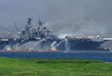 Photo of Fire Fighters Battle Stubborn Fire Aboard USS Bonhomme Richard in San Diego