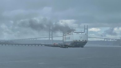 Photo of Burned Car Carrier Hoegh Xiamen Declared a Total Loss