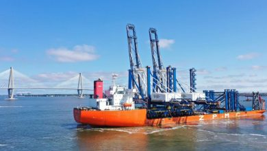 Photo of Two giant ship-to-shore cranes arrive at SC Ports