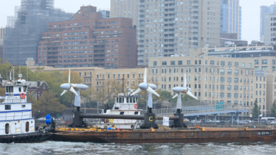 Photo of New Tidal Power Turbine Array Installed in New York's East River